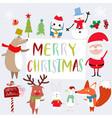 cute santa and animal cartoon vector image vector image