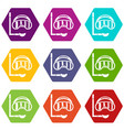 diving mask icon set color hexahedron vector image vector image