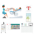 doctor checking patient on gynecological chair in vector image