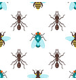flat style seamless pattern with ants bees and fly vector image vector image
