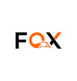 fox text and inside o waving figure fox vector image vector image