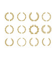 gold laurel foliage wreath set vector image vector image