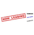 grunge now leasing scratched rectangle stamps vector image vector image