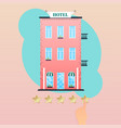 hand giving five star rating to hotel vector image
