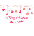 hanging christmas toys on a white background vector image