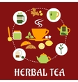 Herbal tea flat infographic design with icons vector image