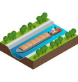 Isometric barge on a river very large ship