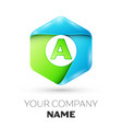 letter a logo symbol in colorful hexagonal vector image vector image