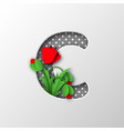 letter c with paper cut poppy flowers vector image vector image