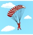 Man flying on a parachute comic book vector image vector image