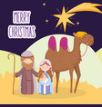 mary joseph and bajesus with camel star desert vector image vector image