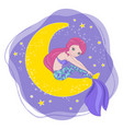 Mermaid moon space cartoon princess