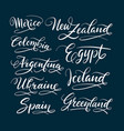 mexico and new zealand hand written typography vector image vector image