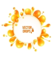 Orange liquid splash with round banner vector image vector image