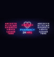 pharmacy neon sign pharmacy 24 hours vector image vector image