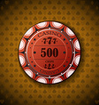 Poker chip nominal five hundred on card symbol vector image vector image