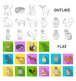 realistic animals flat icons in set collection for vector image vector image