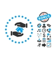 Realty Insurance Flat Icon with Bonus vector image