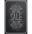 Sale concept with flower on black chalkboard vector image vector image