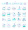 set blue line icons maritime transport vector image