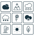 set of 9 harmony icons includes snowstorm tree vector image vector image