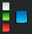 set of blank colorful 3d square buttons vector image vector image