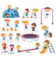 set of doodle kids playing vector image vector image