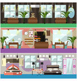 set of shop interior concept flat posters vector image vector image