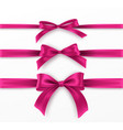 set pink bow and ribbon on white background vector image vector image