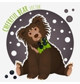 Shaggy bear with black currants in the teeth vector image vector image