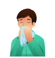 sick man blowing his nose on a tissue vector image