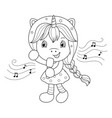 singing unicorn girl with microphone coloring vector image vector image