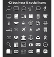 social and business icons set vector image vector image