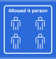 social distancing warning sign allowed 4 person vector image