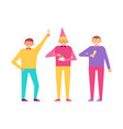 three men celebrate birthday party together set vector image vector image