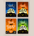 trick or treat halloween postcards designs vector image vector image