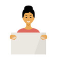 woman asian holding a empty placard vector image vector image