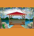wooden gazebo at river vector image vector image