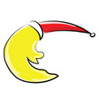 yellow moon with hat on white background vector image vector image
