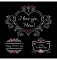 Happy mothers day vintage elements with flowers on vector image