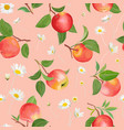 apple pattern with daisy tropic fruits leaves vector image vector image