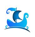 blue boat vintage logo icon vector image