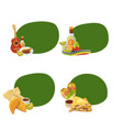cartoon mexican food stickers with place vector image