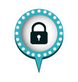 chat bubble with padlock icon vector image vector image