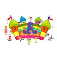 children jump on an inflatable slide vector image vector image