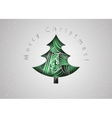 Christmas tree Christmas card in zen tangle style vector image vector image