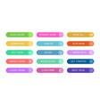 color buttons flat design web and ui application vector image vector image