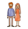 color crayon stripe cartoon full body couple woman vector image vector image