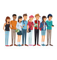colorful set group of students teenagers standing vector image vector image