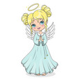 cute cartoon christmas angel isolated on white vector image vector image
